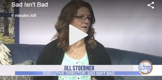 A screen shot of Jill Stoebner talking on the set of Keloland Living